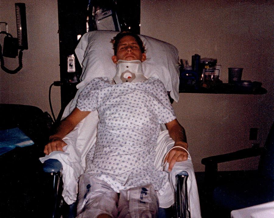 David Kline in hospital bed